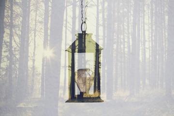 Schwarze Laterne mit LED - Glühbirne hängend, abstrakt forest