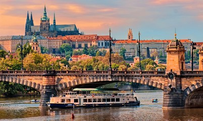 Tuinposter Praag Prague Castle at sunset - Czech republic
