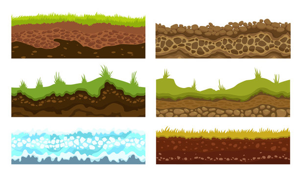 Seamless grounds, soils and land vector set for UI games. Surface water stone grass snow ice illustration.