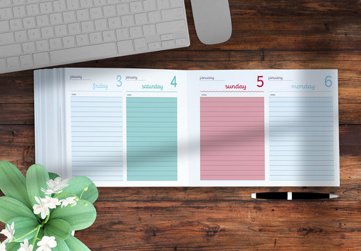 2020 Agenda Layout with Colorful Accents