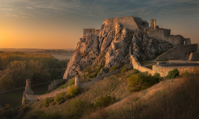 Golden color of Devin castle during the sunset, Slovakia. Fototapete