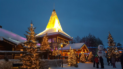 Evening Winter in Santa Claus Village. Rovaniemi behind the Arctic circle, Lapland, Finland