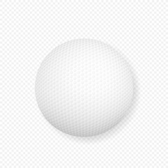 realistic 3d white classic golf ball icon closeup isolated on transparency grid background. Vector stock illustration.