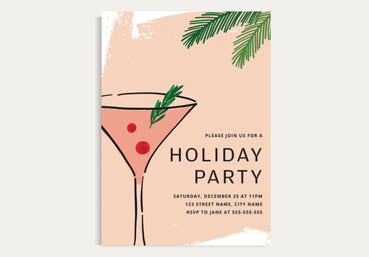 Holiday Cocktail Party Invitation Layout