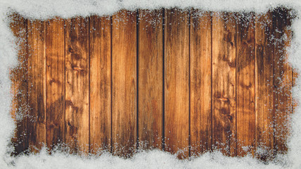 Tuinposter Metal winter Background - Frame made of snow on wooden texture, top view with space for text