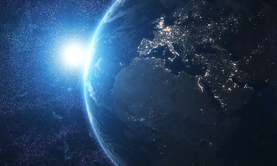 World and sun realistic 3D rendering. Shiny sunlight over Planet Earth, cosmos, atmosphere. Shot...