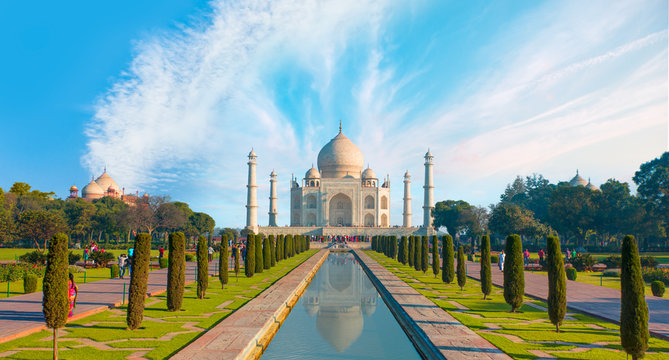 Taj Mahal at bright blue sky - Agra, India