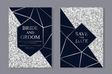 Set of modern geometric luxury wedding invitation design or card templates for business or presentation or greeting with silver lines on a navy blue and glitter background.