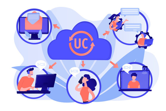 Communication integration. Collaboration service. Unified communication, unified communications platform, consistent unified user interface concept. Pink coral blue vector isolated illustration