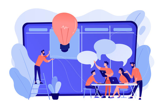 Managers at workshop training manager skills and brainstorming at board. Managers workshop, supervisors course, management skills training concept. Pinkish coral bluevector isolated illustration