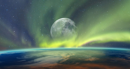 Foto auf Acrylglas Olivgrun Northern lights aurora borealis over planet Earth with full moon