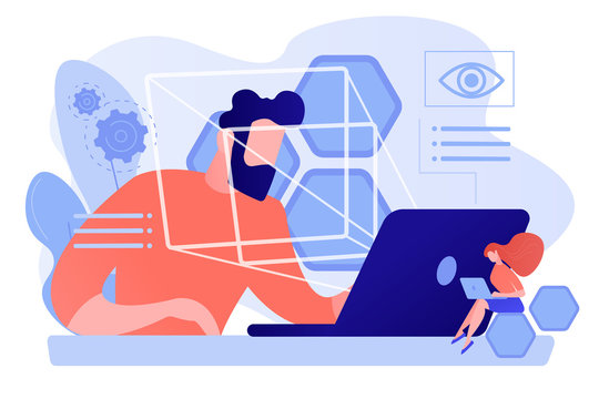 Businessman and technology measuring eye position and movement, tiny people. Eye tracking technology, gaze tracking, eye position sensor concept. Pinkish coral bluevector isolated illustration