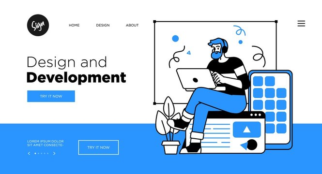 Designing Developing and programming technologies concept. Web page template with modern outline vector illustration.