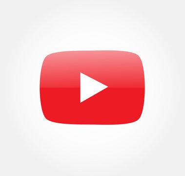 youtube logo button vector editorial