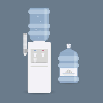 Floor water cooler with glass holder for office and home. Plastic bottle. Water dispenser with blue full bottle, as well hot and cold water taps. Isolated on blue background.Vector illustration