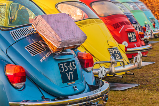 Row of vintage Beetles from the seventies in Den Bosch, The Netherlands on January 4, 2015