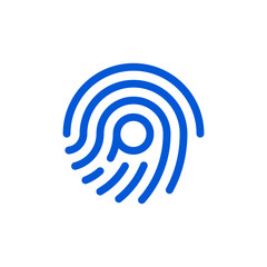 Fingerprint and letter p combination flat icon on a white background