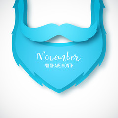 Vector paper art blue beard and mustache. Men's health concept background. November no shave month.
