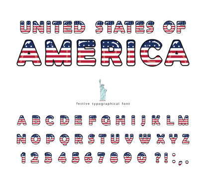 USA cartoon font. United States of America national flag colors. Cut out letters and numbers. Bright alphabet for tourism design. The Statue of Liberty. Vector