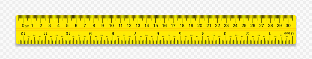 Ruler on transparent background with shadow. The ruler is yellow. Creative vector illustration of realistic colorful rulers isolated on background. Vector illustration.