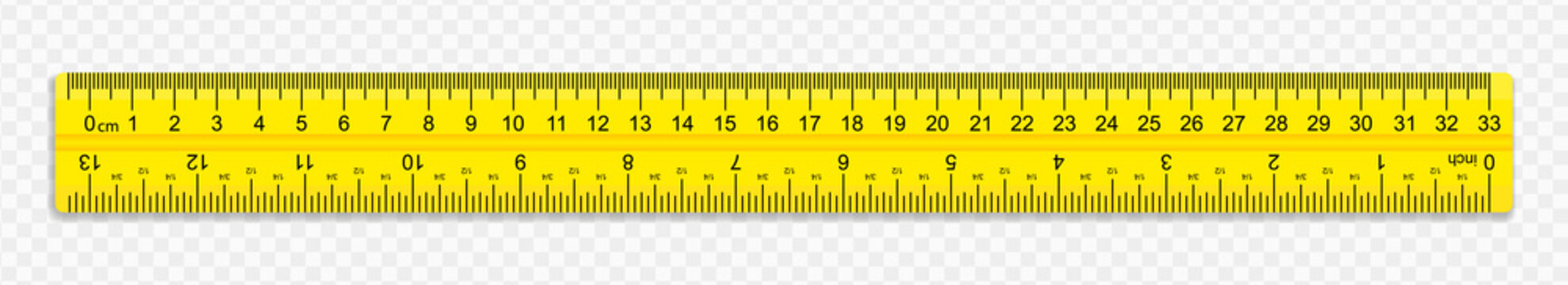 A ruler of yellow color 30 centimeters with shadows isolated on a white background. Measuring tool. School supplies. Vector illustration