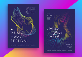 Music Festival Poster Layout Set with Geometric Shapes