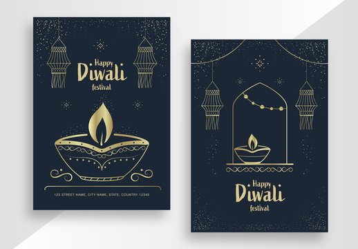 Diwali Festival Poster Layout Set with Gold Elements