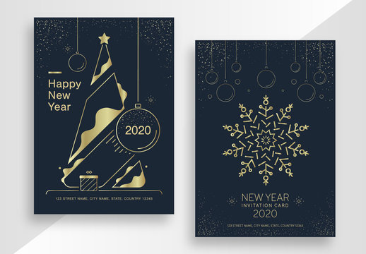 New Year Poster Layout Set with Gold Elements