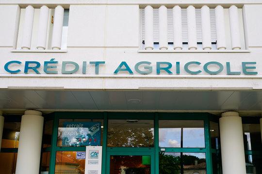 Credit Agricole logo ca store logo bank agency sign facade window
