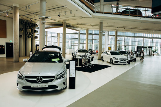 Berlin, August 29, 2018: Exhibition and sale of new cars in the official dealer center Mercedes-Benz in Berlin. A world-famous German company specializing in the production of luxury cars.