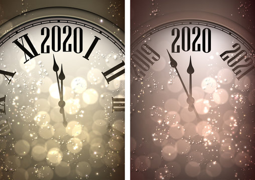 Golden shiny Happy New Year 2020 card with clock and lights.