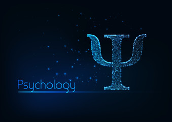 Futuristic glowing low polygonal psi letter, symbol of psychology isolated on dark blue background.