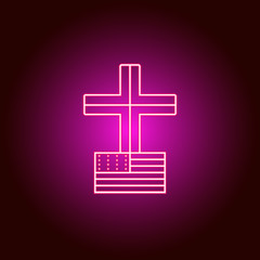 American, church, cross, icon. Modern American USA vector icon - neon vector. Can be used for web, mobile