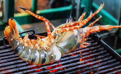 Lobster grill steamed flames sizzling Food Background
