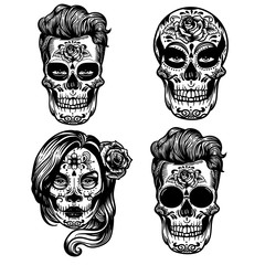 Vector hand drawn illustration of Day Of The Dead Skull and sugar skull girl. Skulls hipster, sugar flower. Skull tattoo punk style  isolated on white.