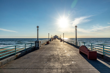 scenic pier at Manhattan Beach near Los Angeles in sunset