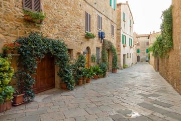 Canvas Prints Narrow alley Pienza / Italy 21 2018: Narrow streets in Pienza town in Tuscany, Italy.
