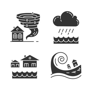 Natural disaster glyph icons set. Global climate changes danger. Tornado, flood, downpour, tsunami. Geological, atmospheric catastrophes. Silhouette symbols. Vector isolated illustration
