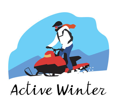 The inscription active winter. Extreme girl rides a snowmobile in the mountains. Vector hand drawing
