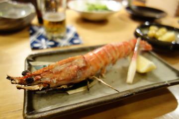 japanische Küche gegrillter Schrimp ebi scampi garnele