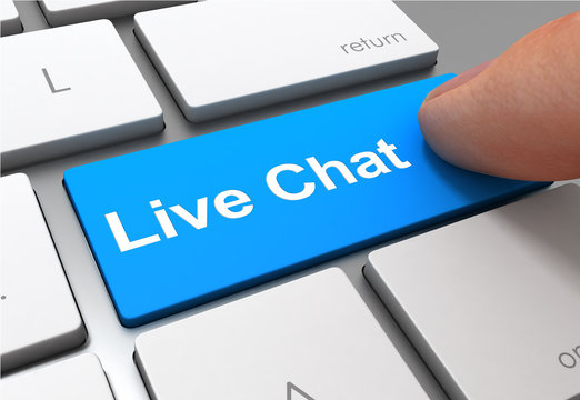 live chat push button concept 3d illustration
