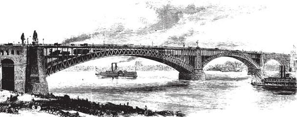 Fototapeta St Louis Bridge, vintage illustration. obraz