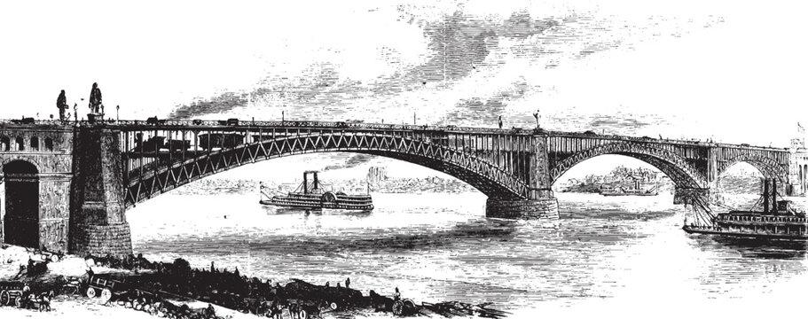St Louis Bridge, vintage illustration.