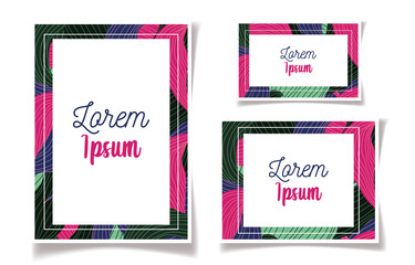 Wall Mural - colored foliage frame floral wedding cards