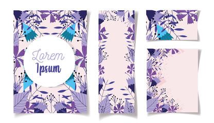 Wall Mural - floral wedding cards flowers leaves elegant design