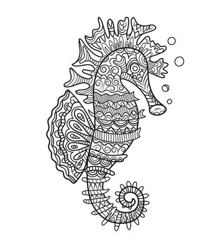 Illustration for adult coloring book. Sea horse abstract ornamental mandala