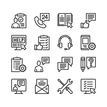Customer service line icons. Modern stroke, linear elements. Outline symbols collection. Premium quality. Pixel perfect. Vector thin line icons set