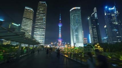 Fototapete - hyper lapse of sunset, Shanghai Lujiazui financial center, China