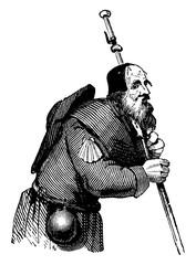 A Pilgrim, vintage illustration