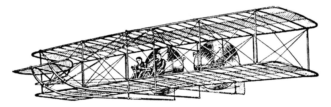 Wright Brothers Aeroplane, vintage illustration.
